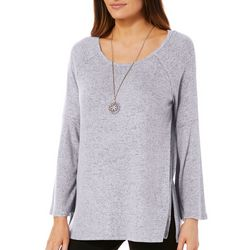 Harlow and Rose Womens Necklace & Heathered Split Hem Top