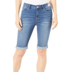 Curve Appeal Womens Denim Roll Cuff Bermuda Shorts
