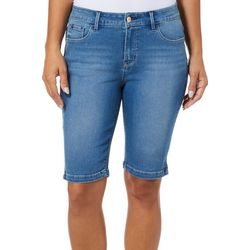 Curve Appeal Womens Split Hem Stretch Denim Bermuda