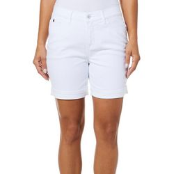 Curve Appeal Womens Solid Roll Cuff Denim Shorts