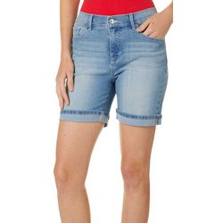 Curve Appeal Womens Shape Enhancing Denim Bermuda Shorts