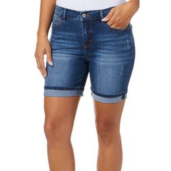 Curve Appeal Womens Destructed Roll Cuff Denim Shorts