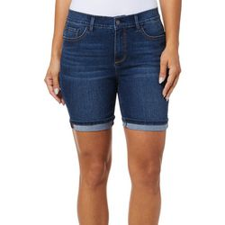 Curve Appeal Womens Roll Cuff Denim Shorts