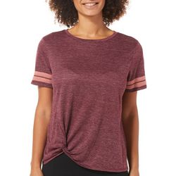 C&C California Womens Athletic Striped Side Knot T-Shirt
