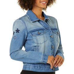 C&C California Womens Embellished Star Denim Jacket