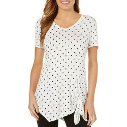 C&C California Womens Polka Dot Asymmetrical Hem Top