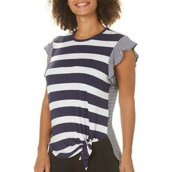 C&C California Womens Striped Tie Front High-Low Top