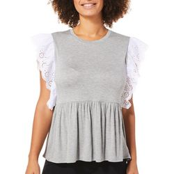 C&C California Womens Ruffled Eyelet Babydoll Top