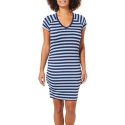 C&C California Womens Side Ruched Striped Dress
