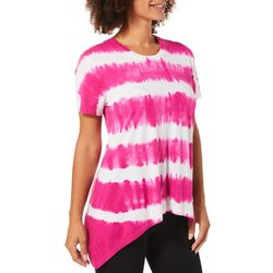 C&C California Womens Tie Dye Sharkbite Hem Top