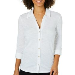C&C California Womens Solid Button Down Ribbed Panel Top