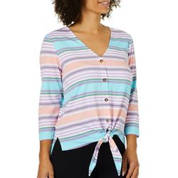 C&C California Womens Striped Button Down Tie Front Top