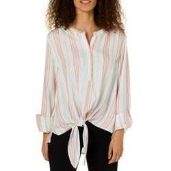 C&C California Womens Striped Roll Tab Tie Front Top