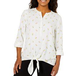 C&C California Womens Lemon Print Tie Front Top