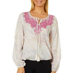 Sky & Sand Womens Embroidered Tie Neckline Top