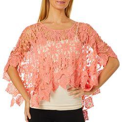 Sky & Sand Womens Flowers Crochet Poncho Top