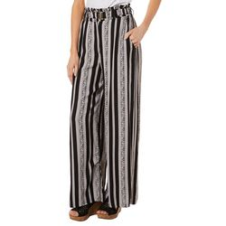 Sky & Sand Womens Belted Floral Striped Soft Pants