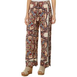 Sky & Sand Womens Floral Damask Wide Leg Soft Pants