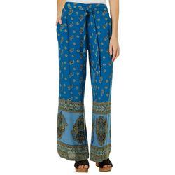 Sky & Sand Womens Mixed Paisley Tie Waist Soft Pants