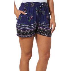 Sky & Sand Womens Floral Printed Drawstring Soft Shorts