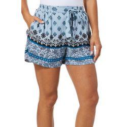 Sky & Sand Womens Printed Tie Waist Soft Shorts
