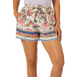 Sky & Sand Womens Floral Border Print Tie Waist Soft Shorts