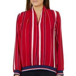 Absolutely Famous Womens Mixed Stripe Long Sleeve Top