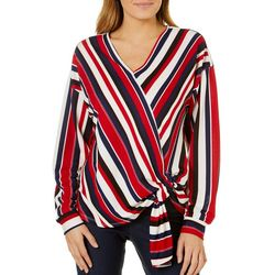 Absolutely Famous Womens Striped Side Tie Top