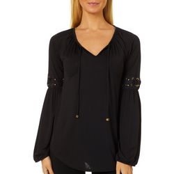 Absolutely Famous Womens Grommet Detail Long Sleeve Top