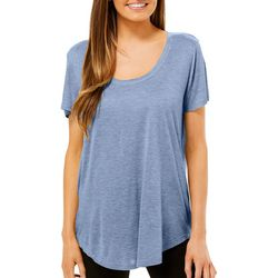 Femme Womens Solid Scoop Neck T-Shirt