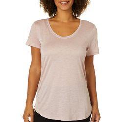 Femme Womens Solid Scoop Neck T-Shirt