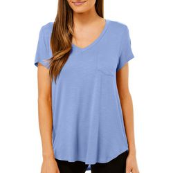Femme Womens Solid Heathered V-Neck Pocket T-Shirt