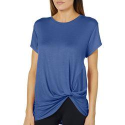 Femme Womens Heathered Twist Front T-Shirt