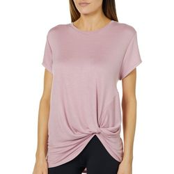 Femme Womens Heathered Twist Front T-Shirt