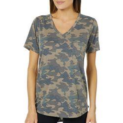 Femme Womens Heathered Camo Print T-Shirt