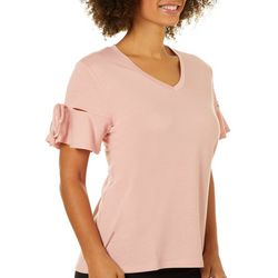 Femme Womens Solid Tie Sleeve French Terry Top