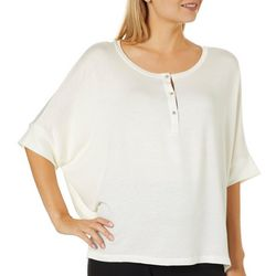 Femme Womens Solid French Terry Henley Top