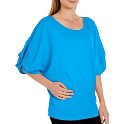 Femme Womens Solid Twist Sleeve Top