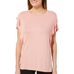 Femme Womens Solid Ruffle Sleeve Top