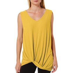Femme Womens Textured Solid Twist Front Sleeveless Top