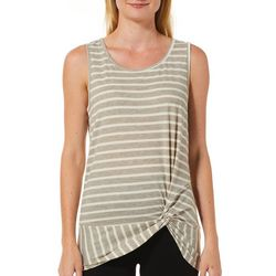 Femme Womens Striped Knit Twist Front Sleeveless Top
