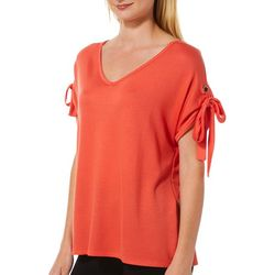 Femme Womens Solid V-Neck Tied Short Sleeve Top