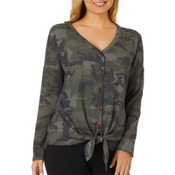 Femme Womens Camo Button Down Tie Front Long Sleeve Top
