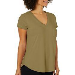 Femme Womens Solid V-Neck Pocket T-Shirt