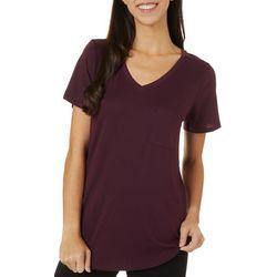 Femme Womens Heathered V-Neck Short Sleeve T-Shirt