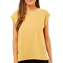 Femme Womens Solid Round Neck Short Sleeve Top