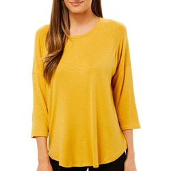 Femme Womens Solid Round Neck Top