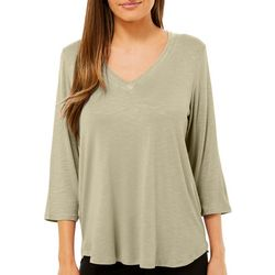 Femme Womens Solid V-Neck T-Shirt