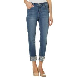 Earl Jean Womens Pearl Embellished Roll Cuff Denim Jeans