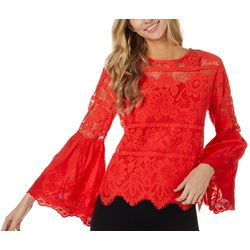 Adiva Womens Solid Lace Overlay Bell Sleeve Top